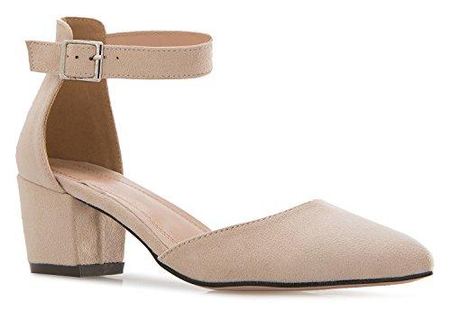 Ankle Strap Pump Shoes (OLIVIA K Women's D'orsay Pumps Close Toe Ankle Strap Kitten Heel – Adorable Low Block Heel)