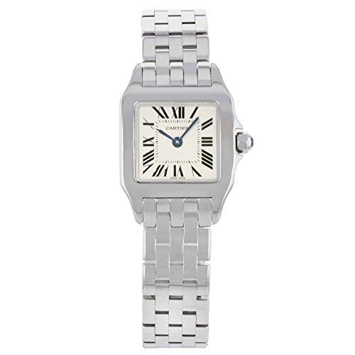 Cartier Santos Demoiselle 20mm White Dial Square Steel Quartz Ladies Watch W25064Z5 (Certified Pre-Owned)