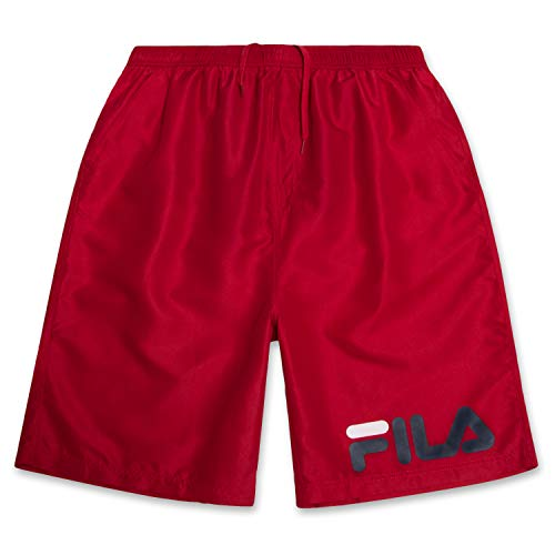 Fila Mens Big and Tall Long Swim Trunks Quick Dry Red 3X