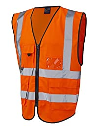 Forever Hi Vis Viz Executive Safety Waist Coat Vest Yellow Work Wear