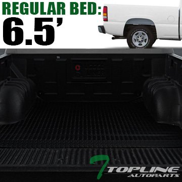 Topline Autopart Black Rubber Diamond Plate Truck Bed Cargo Box Floor Mat Carpet 99-06/07 Chevy Silverado / GMC Sierra 1500 2500 3500 HD Fleetside 6.5 Ft 78