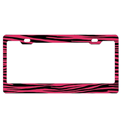 (ABLnewitemFrameFF 0120 Cerise Or Cherry Tiger Aluminum License Plate Frame Black License Plates Frames, Car Licenses Plate Covers Holders for US Vehicles)