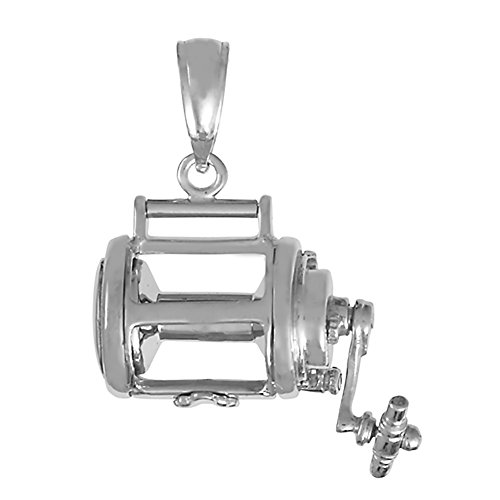 925 Sterling Silver Nautical Charm Pendant, 3D Fishing Reel (Reel Charm)