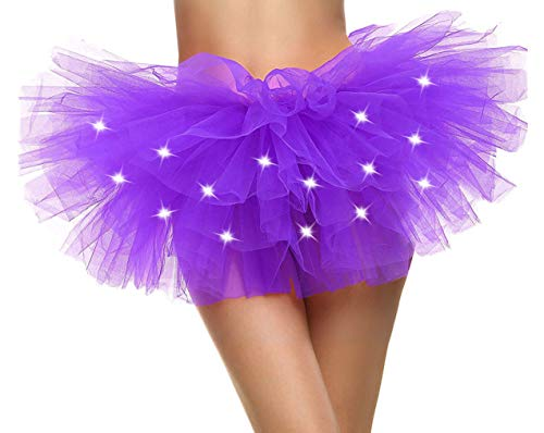 Adult's LED Light Up 5 Layered Tulle Tutu Mini Skirt, Purple]()