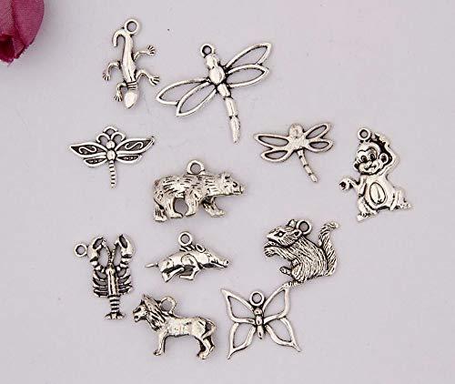 Antique Silver Charm Pendant for Bracelets & Necklace & Jewelry | Shape Lion Lizard Squirrel Boar Animal 100Pcs
