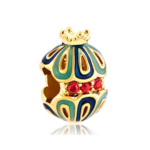 CharmsStory Faberge Egg Lucky Snow White King Crown Charms Beadss For Bracelets