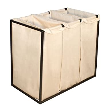 The Bag Stand 2810 BROCotton Steel-Framed Bronze Hamper with Removable Cotton Laundry Bags, Triple