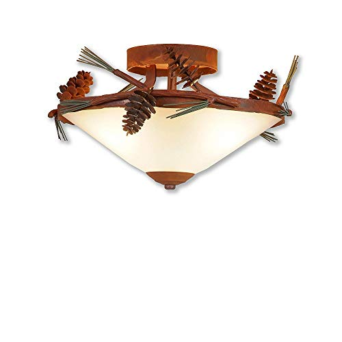 (Ceiling Light Adirondack Unique Handmade in USA   Wisley Ceiling 12D- Pine Cone   A47420FC-04   Avalanche Ranch Lighting)
