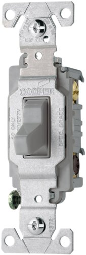 Eaton CS315GY 15-Amp 120/277-volt Commercial Grade 3-Way Compact Toggle Switch with Side Wiring, Gray Color