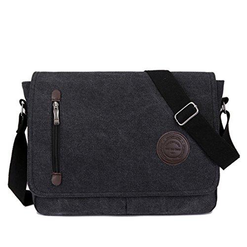 Type Shoulder Bag Canvas Shoulders, Unisex, Vintage Style, Work, School, Travel, Sports And Super Modern Laptop, Man, Black Black
