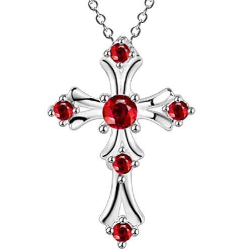 Fancy Romantic Valentine Crystal Cross Pendant Necklace Red -