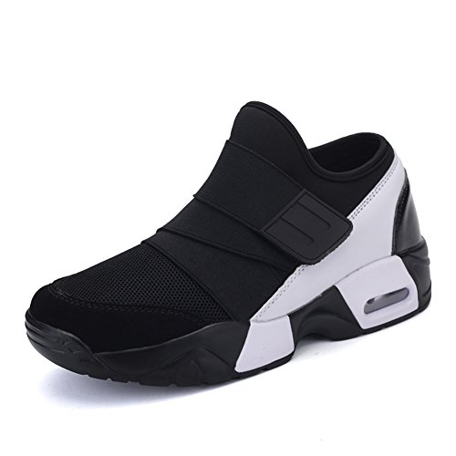 Leader show Mens Fashion Breathable Cushioning Sneaker Sports Velcro Running Shoe Black k6yKJ