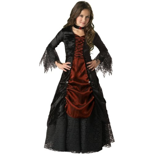 InCharacter Costumes, LLC Girls 7-16 Gothic Vampira Gown Set, Black/Burgundy, (Vampire Victim Costume)