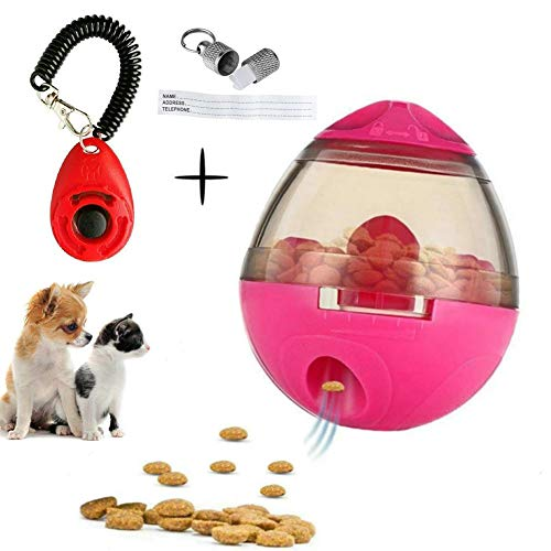 FAOUGESS Dog Food Dispenser Ball Toy,Pet Increase IQ Slow Feeder Interactive Treat Dispensing Ball,Tumbler Design Training Puzzle Shaking Toys for Dogs & Cats (Pink) by FAOUGESS