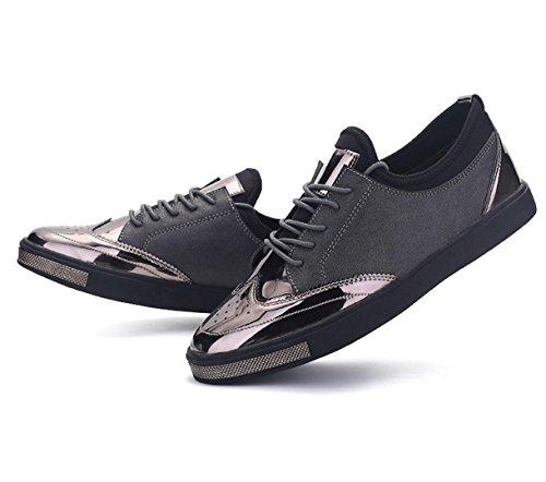 WZG zapatos casuales de los hombres de encaje plana de cuero redondo Inglaterra zapatos de gamuza transpirable estudiantiles Grey