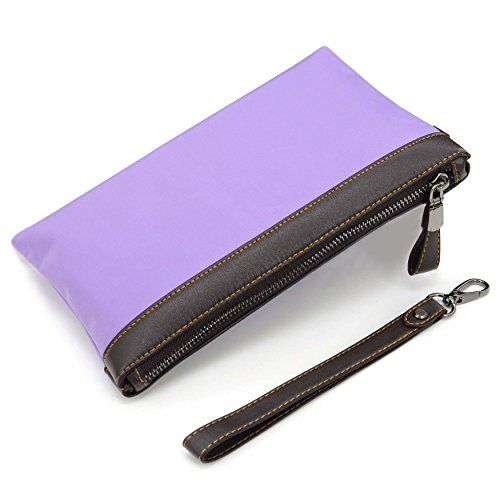 Wristlet Purse,U-TIMES Nylon Zip Clutch Pouch Wallet Phone Bag With Built-in Bank Cards Slots - Unisex Application (Light - Sunglasses With Pu Zip Case