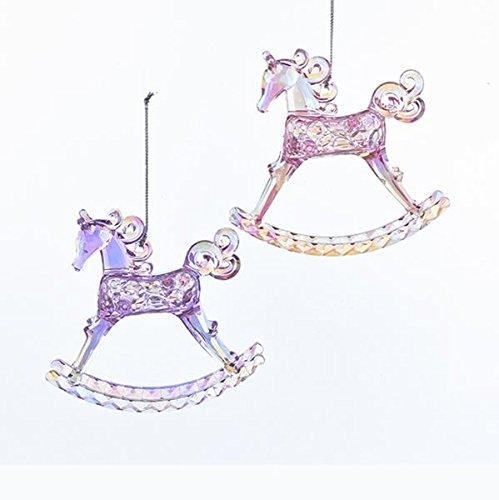 Kurt Adler Sugar Plum Acrylic Rocking Horse Ornament - 2 Assorted, Pink and (Horse Christmas Tree Ornaments)