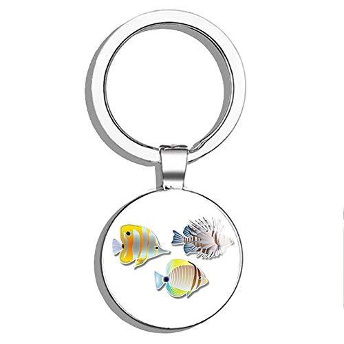 1080 Graphics Tropical Fish Metal Round Metal Key Chain Keychain Ring (Tropical Fish Keychain)