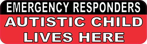 10in x 3in Autistic Child Lives Here Sticker Vinyl Emergency Safety Stickers