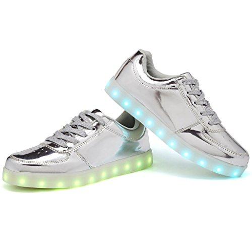 CIOR LED Leuchten Schuhe 11 Farben Blinkt Wiederaufladbare Sport Tanzen Turnschuhe Für Herren Frauen Jungen Mädchen D. Silber