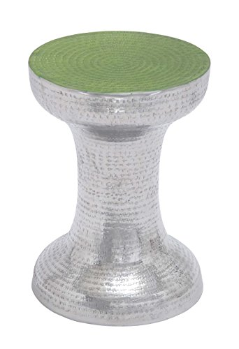 Rattan Table Painted (Deco 79 Aluminum Accent Table, 13 by 17-Inch, Green)
