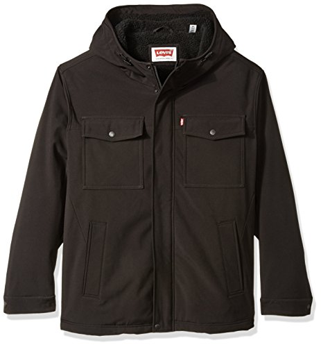 (Levi's Men's Big Soft Shell Two Pocket Hooded Trucker Jacket with Full Sherpa Lining, Black/Army, 3X)
