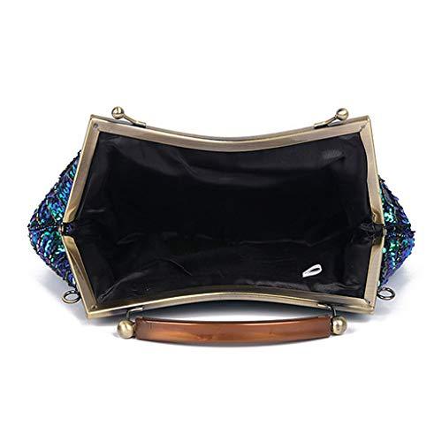 Sequins Peacock Soir Champagne Clutch Beaded Épaule Handbag Vintage Senoow Sac Mariage Lady SIAxw7Iqt