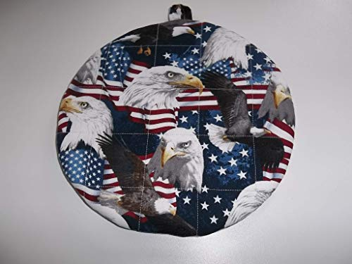Pot Holders Heat Resistant Patriotic Flags Eagles Potholders Handmade Double Insulated Quilted Hot Pads Trivets 9 inches Round