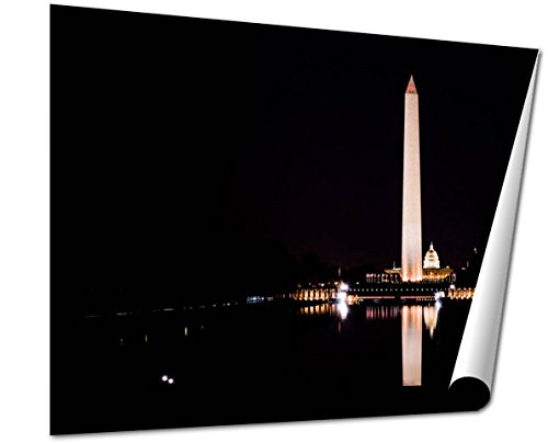 Ashley Giclee Fine Art Print, Washington Monument National Mall Reflecting Pool Night Contrast, 16x20, - Way Federal Mall