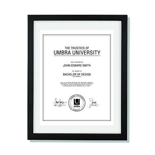Umbra Document Frame 11x14 inch – Modern Picture Frame Designed to Display a Floating 8.5x11 Document, Diploma, Certificate, Photo or Artwork (Black)