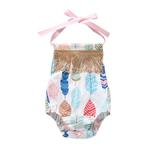 LiLiMeng Newborn Infant Baby Girls Leaf Print Bow Tie Sling Tassel Romper Bodysuits Playsuit Light Blue