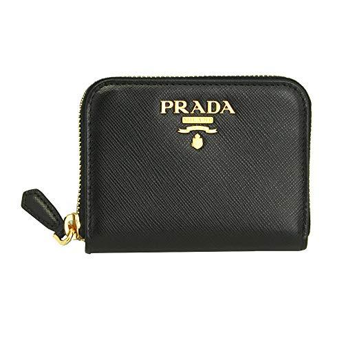 Prada Black Leather W/metal logos Coin case 1MM268 Nero