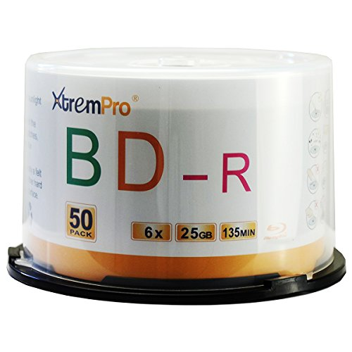 XtremPro BD-R 6X 25GB 135Min Blu-Ray 50 Pack Blank Discs in Spindle - 11053 by XtremPro