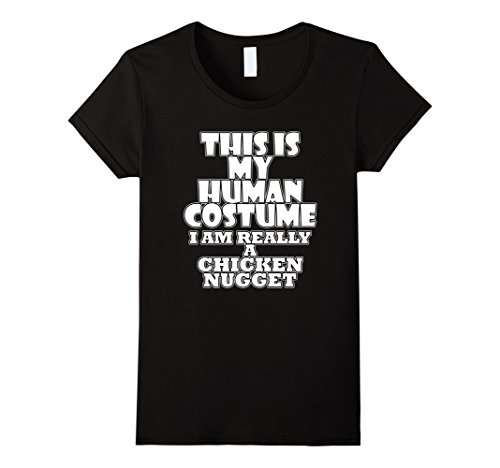 [Womens Human Costume of a Chicken Nugget Funny Costume Idea T-Shirt XL Black] (Cute Easy Costumes Ideas)