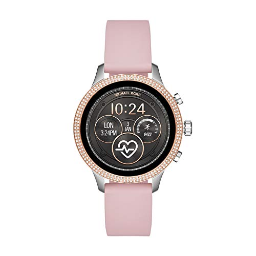 Michael Kors Access Womens Runway Touchscreen Smartwatch Stainless Steel Leather watch, Pink, MKT5055