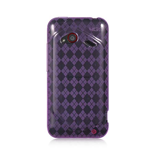 Insten Checker TPU Rubber Candy Skin Case Cover Compatible with HTC Droid Incredible (LTE Version), Purple
