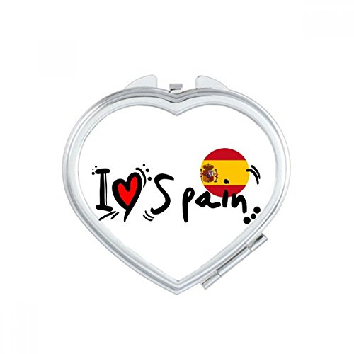 DIYthinker I Love Spain Word Flag Love Heart Illustration Heart Compact Makeup Mirror Portable Cute Hand Pocket Mirrors Gift by DIYthinker