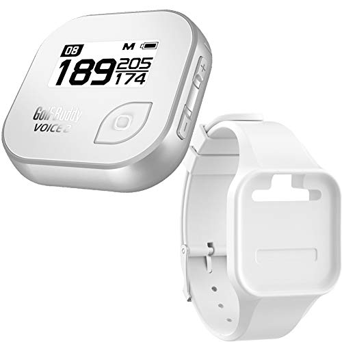Golf Buddy Bundle Voice 2 Golfbuddy Voice2 Easy-to-Use Talking GPS (White/Silver) + Silicon Wristband (White)