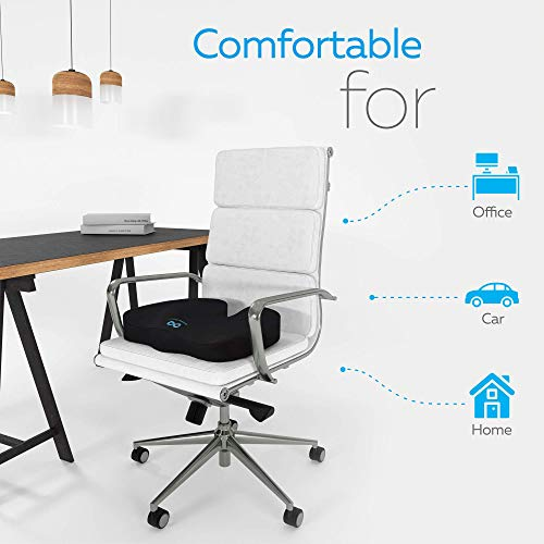 100% Memory Foam Seat Cushion, Gel Infused & Ventilated, Orthopedic Design to Relieve Back, Sciatica, Coccyx and Tailbone Pain - Perfect for Your Office Desk Chair by Everlasting Comfort by Everlasting Comfort (Image #2)