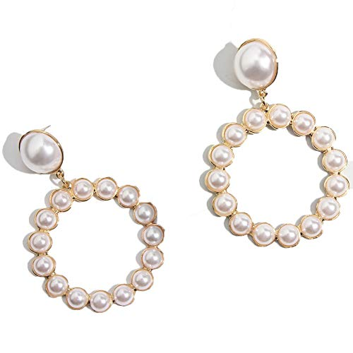 Gold Round Drop Earrings Women Trendy Imitation Pearl Circle Pendant Big Dangle Earring Jewelry Gd