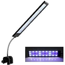 Mingdak Upgrade Aquarium Clip Light, LED Clamp on Fish Tank Light, Lighting Color White & Blue,10W, 27 LEDs