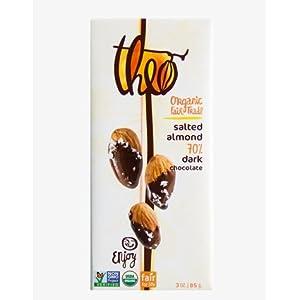 Theo Chocolate Dark Chocolate Bar, Salted Almond 12x 3Oz