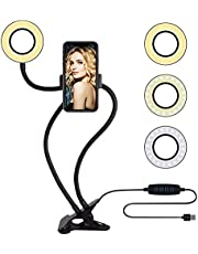 Selfie Ring Light with Cell Phone Holder Stand for Live Stream/Makeup, Amazer Tec LED Camera Lighting [3-Light Mode] [10-Level Brightness] with Flexible Arms Compatible with iPhone 8 7 6 Plus X Android