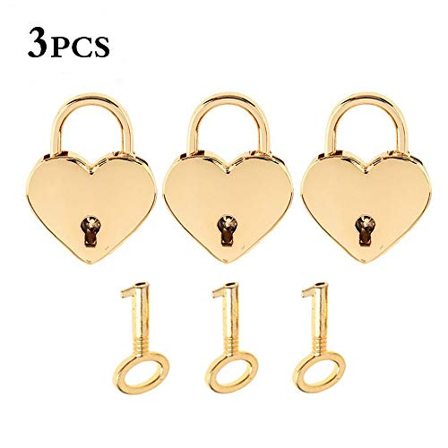 kathson 3 Pieces Small Metal Heart Shaped Decorative Padlock Mini Lock with Key for Jewelry Box Storage Box Diary Book, Old Vintage Antique Style Gold