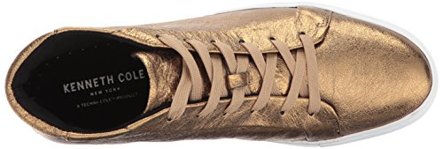 Kenneth Cole New York Mujeres Janette High Top Lace Up Plataforma Cuero Moda Sneaker Gold