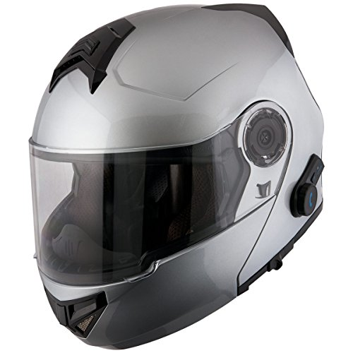 (Hawk H7015 Gloss Gray Modular Motorcycle Helmet with Integrated Blinc Bluetoot - Large)