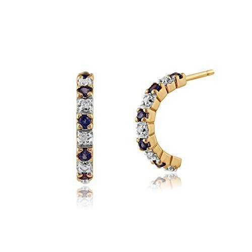 Gemondo Saphir Boucles D'oreilles, 9ct Or Jaune 0.22ct Saphir & 4pt Diamant Demi Arceau Style Boucles D'oreilles