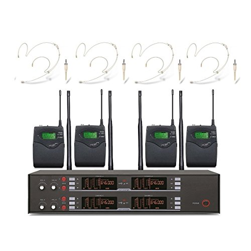 4 x 100 Channels microfono condensador Diversity Wireless Beige Headset Headworn Microphone NEW (Headworn Microphone Diversity Wireless)