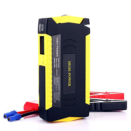 Price comparison product image LECASE 600A Peak 18000mAH Portable Car Jump Starter with Smart Jumper Cables (Up to 6.0L or 5.0 Diesel Engines) Booster Battery Charger Phone Power Bank
