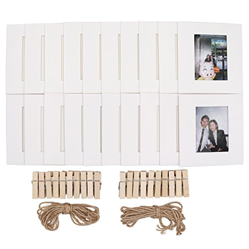 Ablus 20Pcs Paper Photo Frame Set for Fujifilm Instax Mini 7s 8 8+ 9 25 26 50s 70 90 Instant Camera Film (3-inch, White)